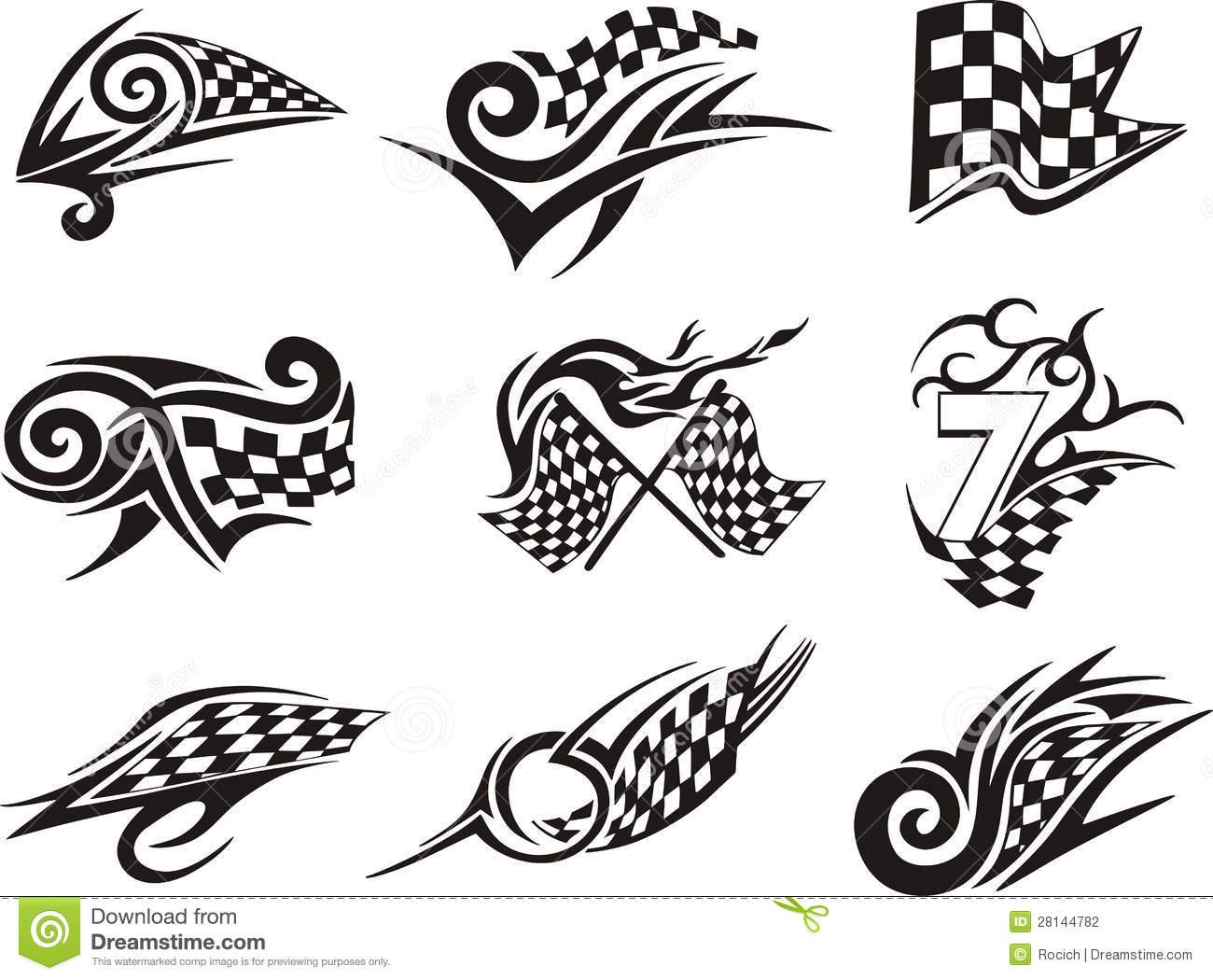 Set Of Racing Tattoos With Checkered Flags Stock Vector