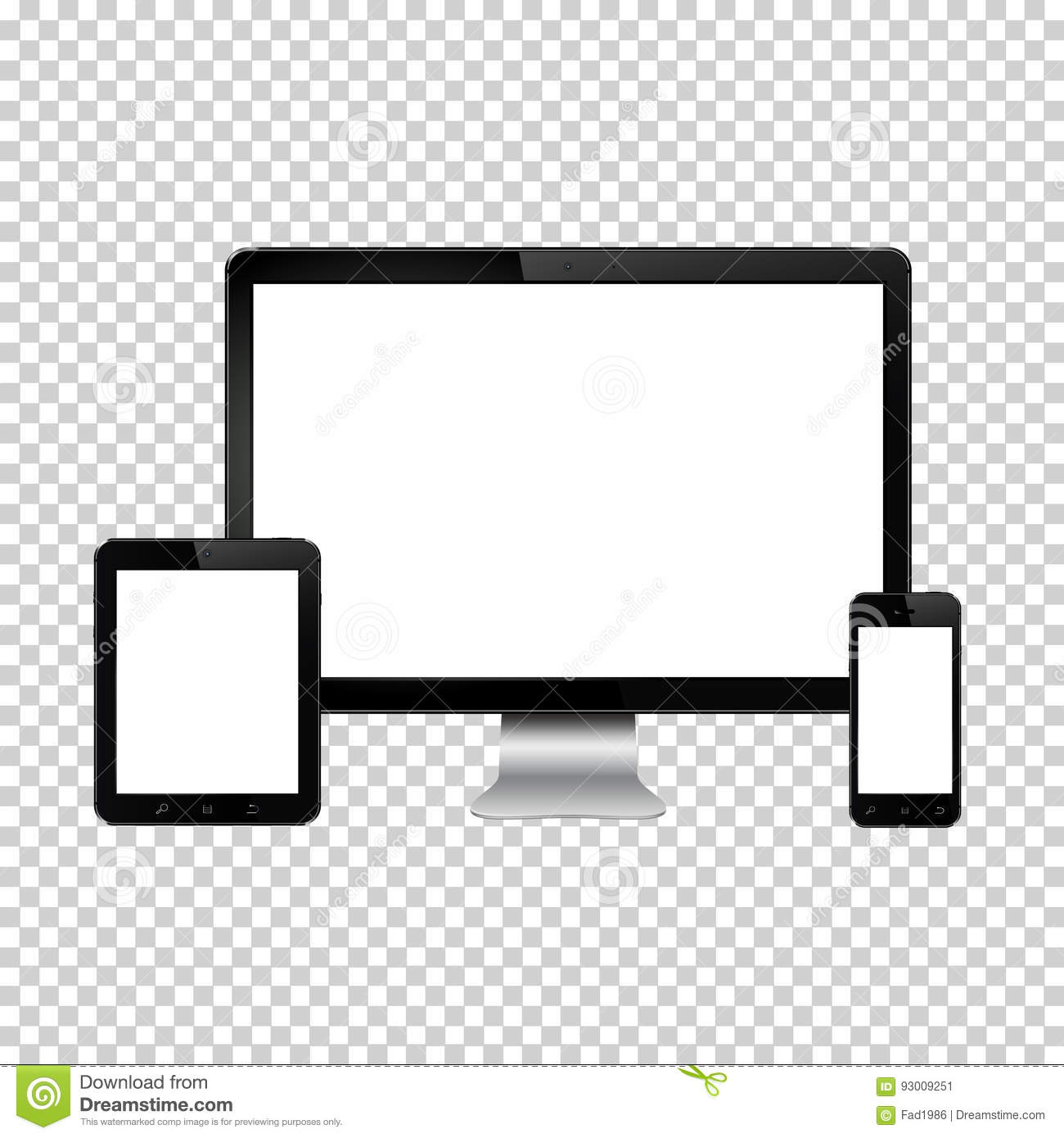 Set Of Realistic Computer Monitor Digital Tablet And