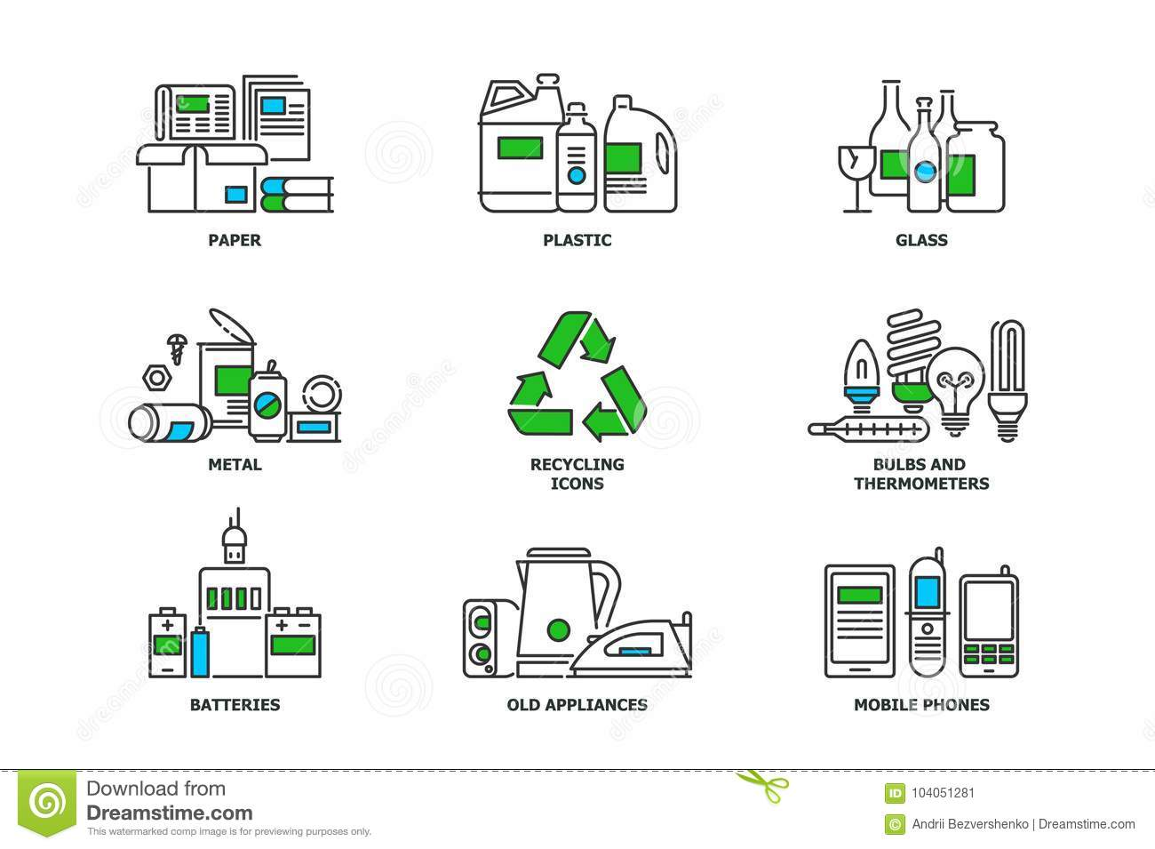 Set Of Recycling Icons In Line Design Recycle Vector Flat