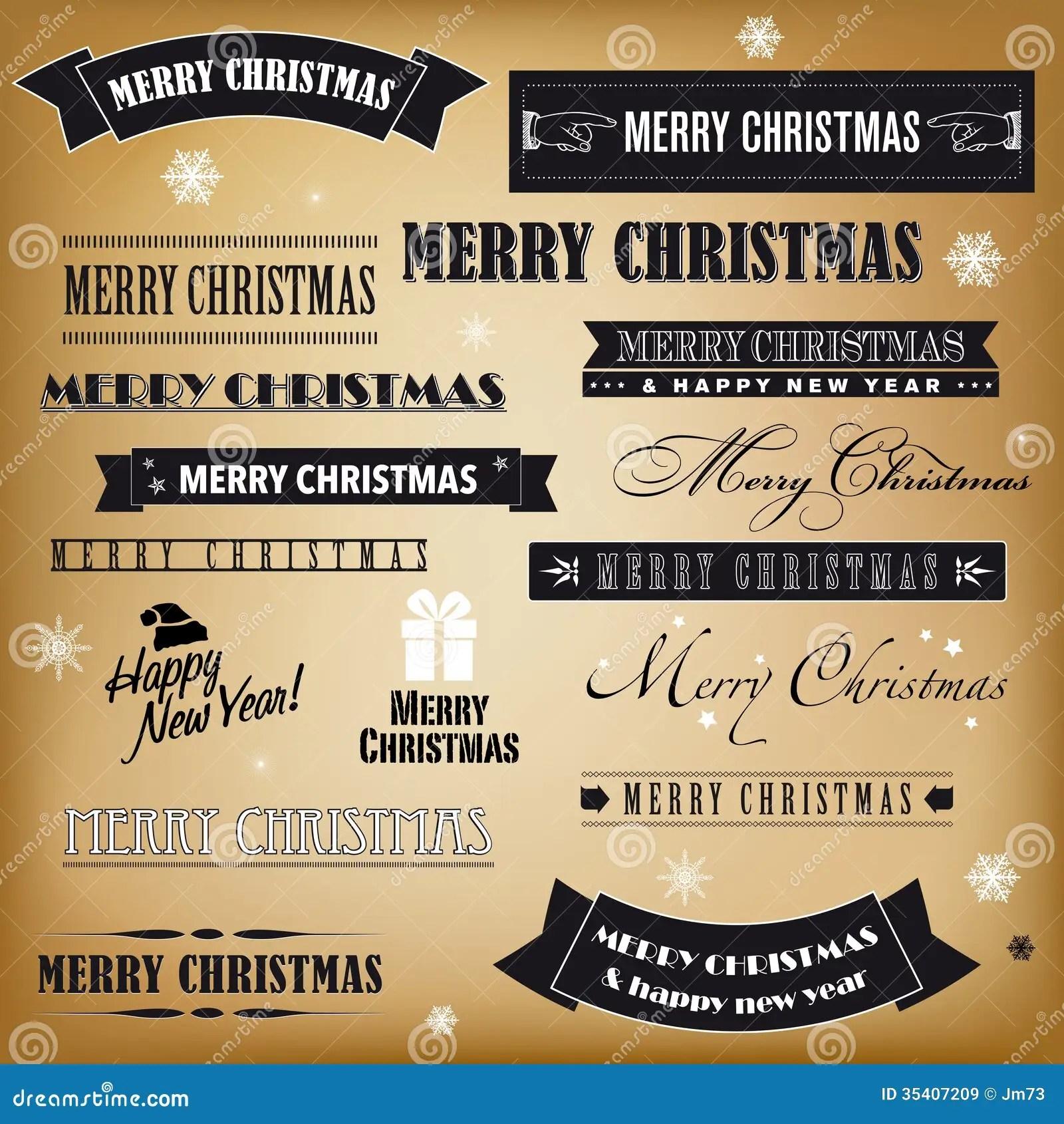 Set Of Retro Christmas Signs Stock Vector Illustration