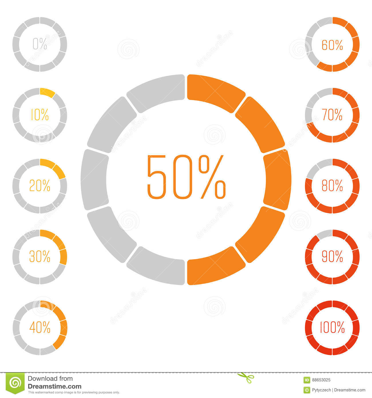 Set Of Ring Pie Charts With Percentage Value Performance