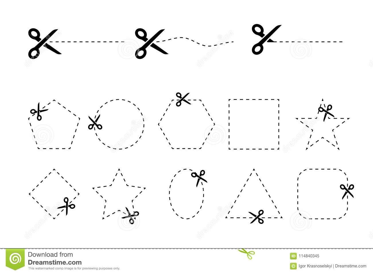 Set Of Scissors Vectors With Cut Out Coupons Of Different