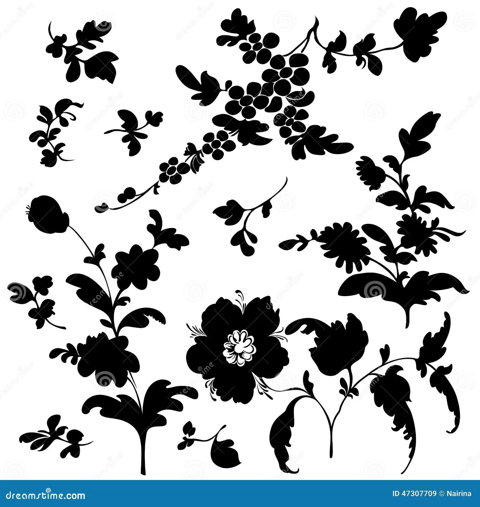 Set Silhouette Black Flowers Stock Vector