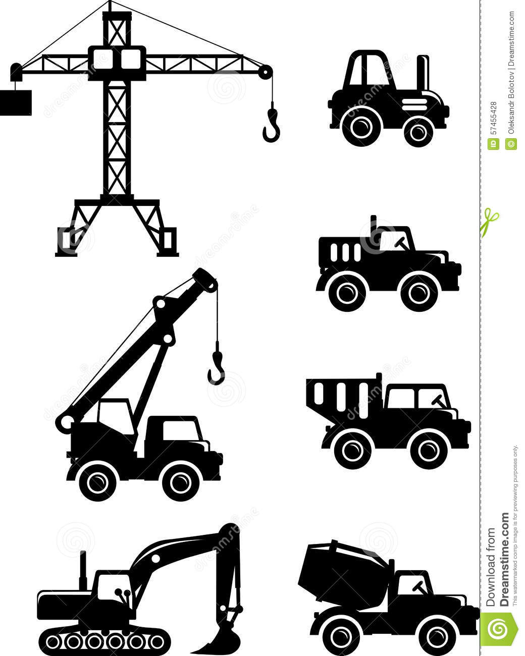 Heavy Construction Machines Illustrations Cartoon Vector