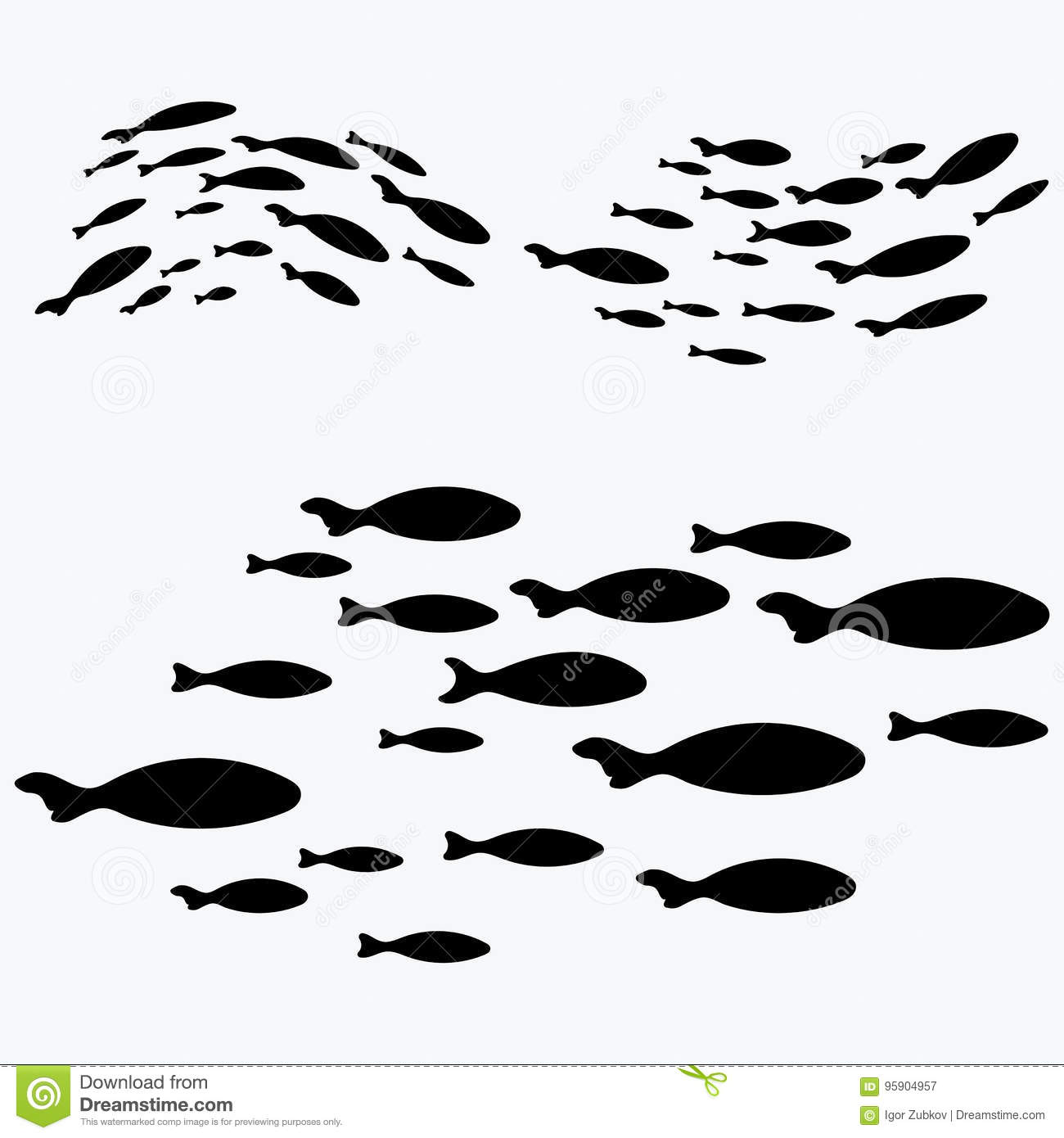 Set Silhouettes Of Groups Of Sea Fishes Colony Of Small