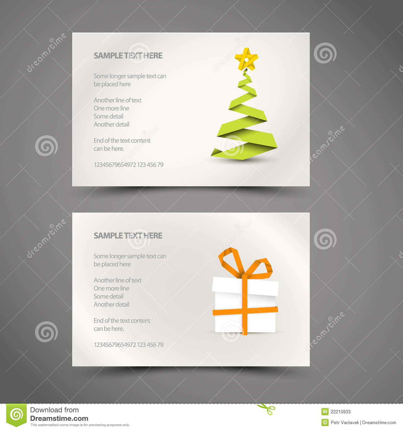 Set Of Simple Christmas Cards Stock Vector Image 22210933