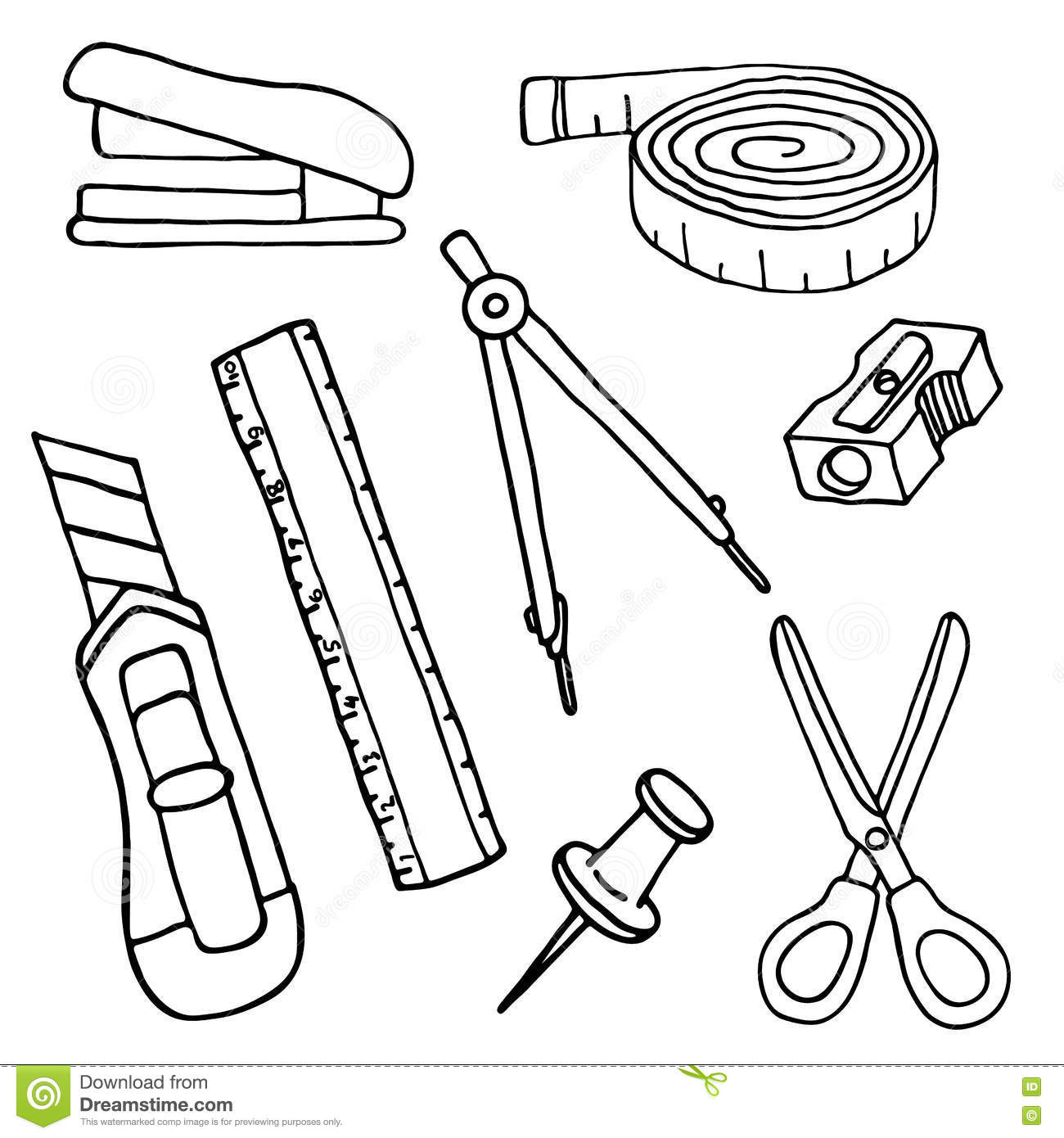 Set Of Stationery Items Royalty Free Stock Image