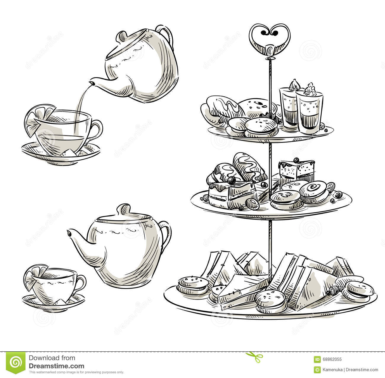 Set Of Snacks On A Tray Teatime Vector Sketch Stock
