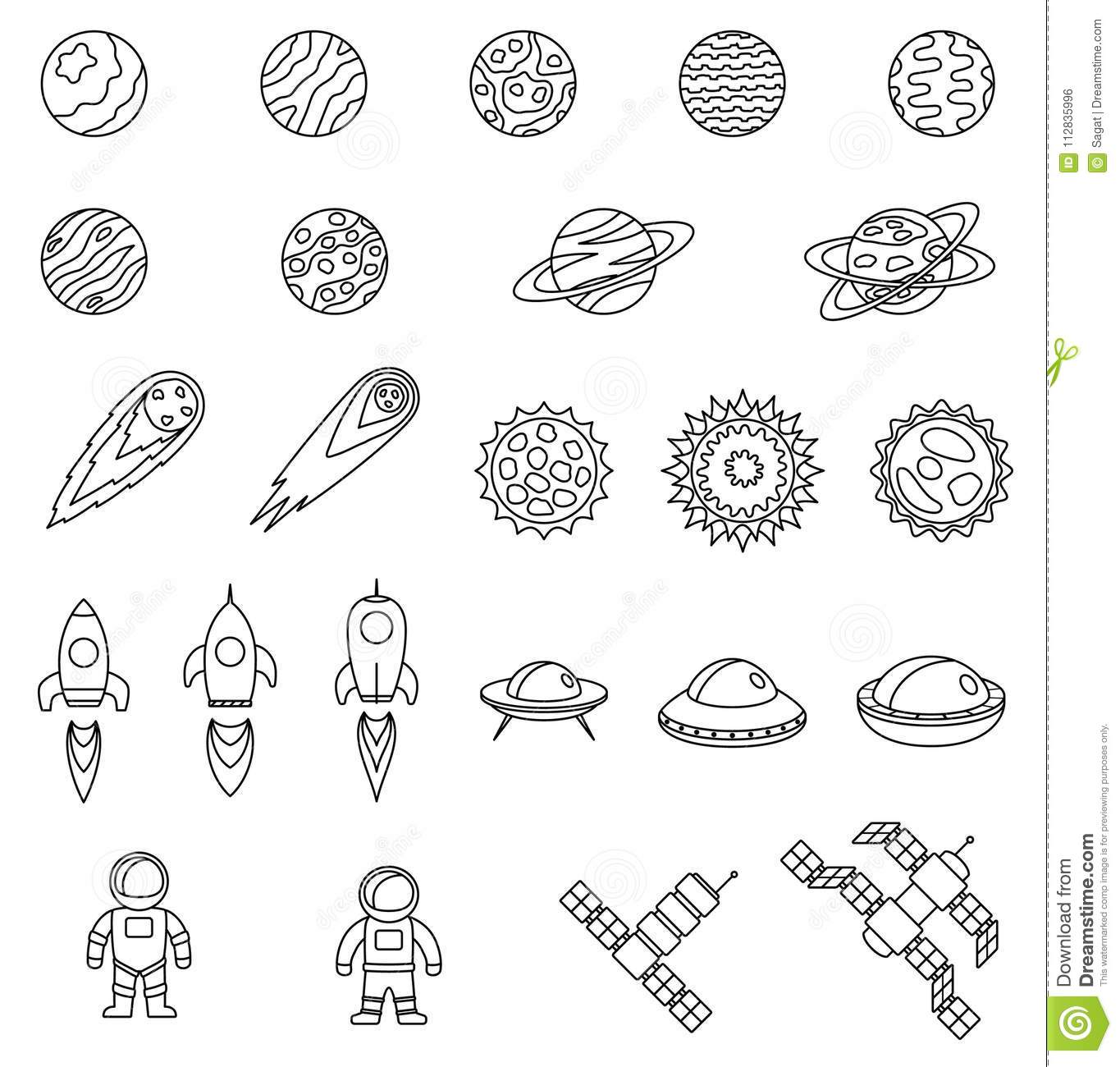 Set Of Space Objects Planets Stars Comet Spaceship