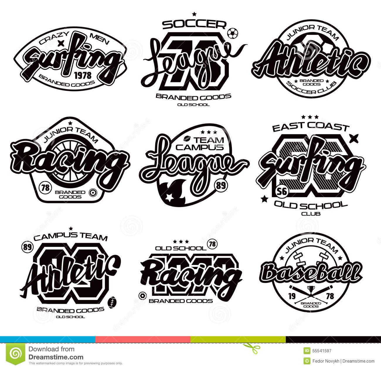 Set Of Sport Badges Graphic Design For T Shirt Stock Vector