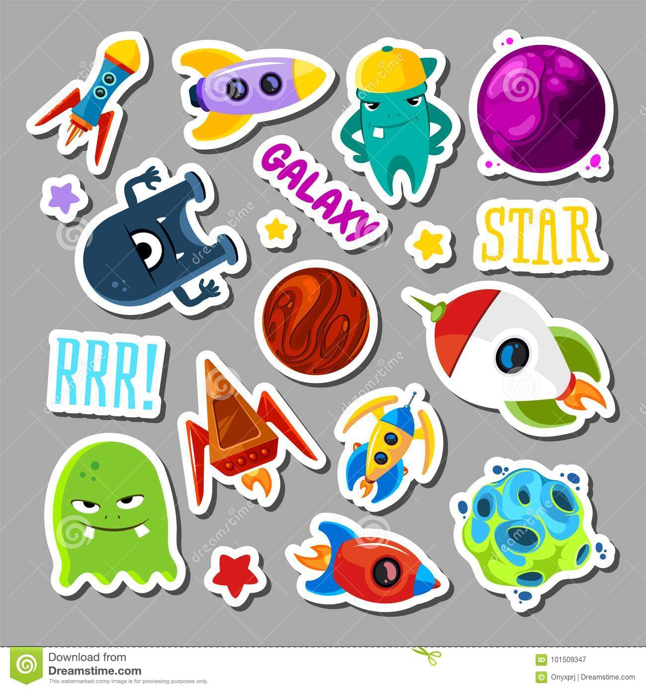 Set Of Stickers With Space Objects And Monsters Cartoon