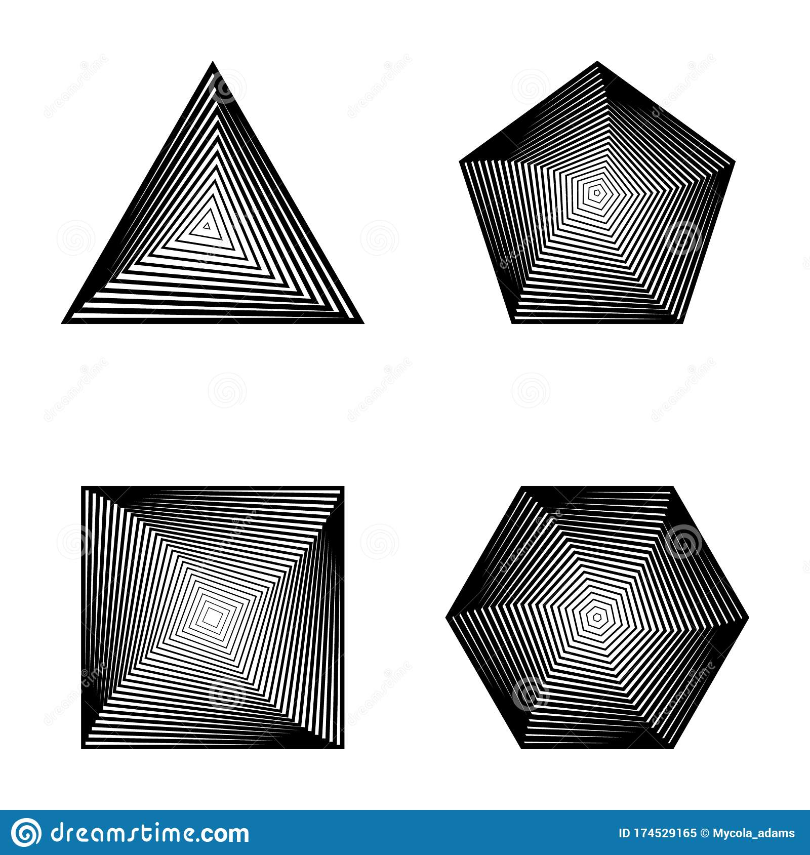 Set Of Striped Shapes With Transition Triangle Square