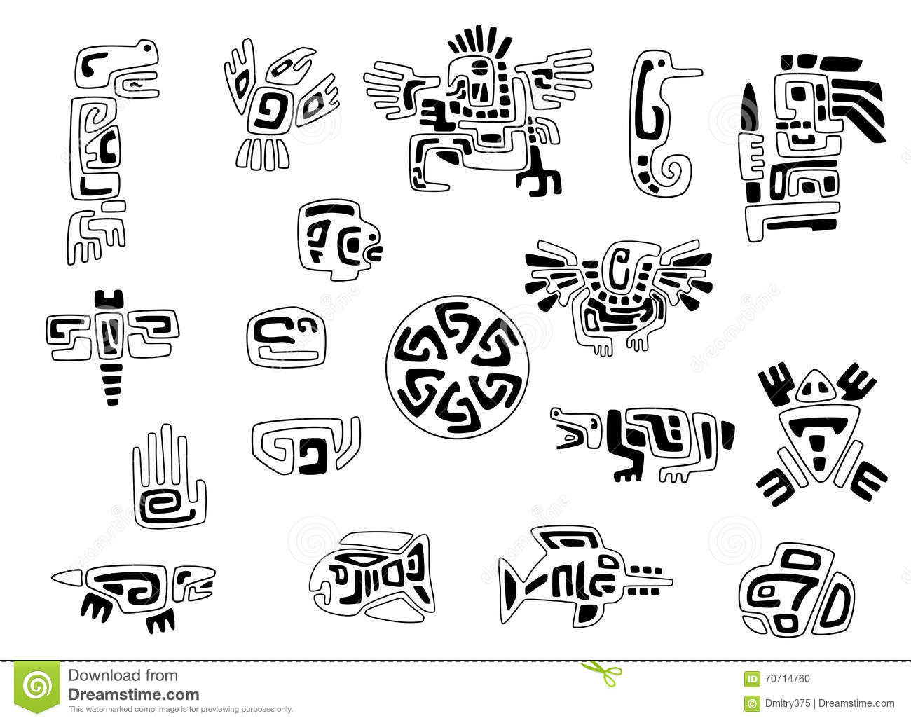 Set Of Stylized Native American Symbols Stock Vector