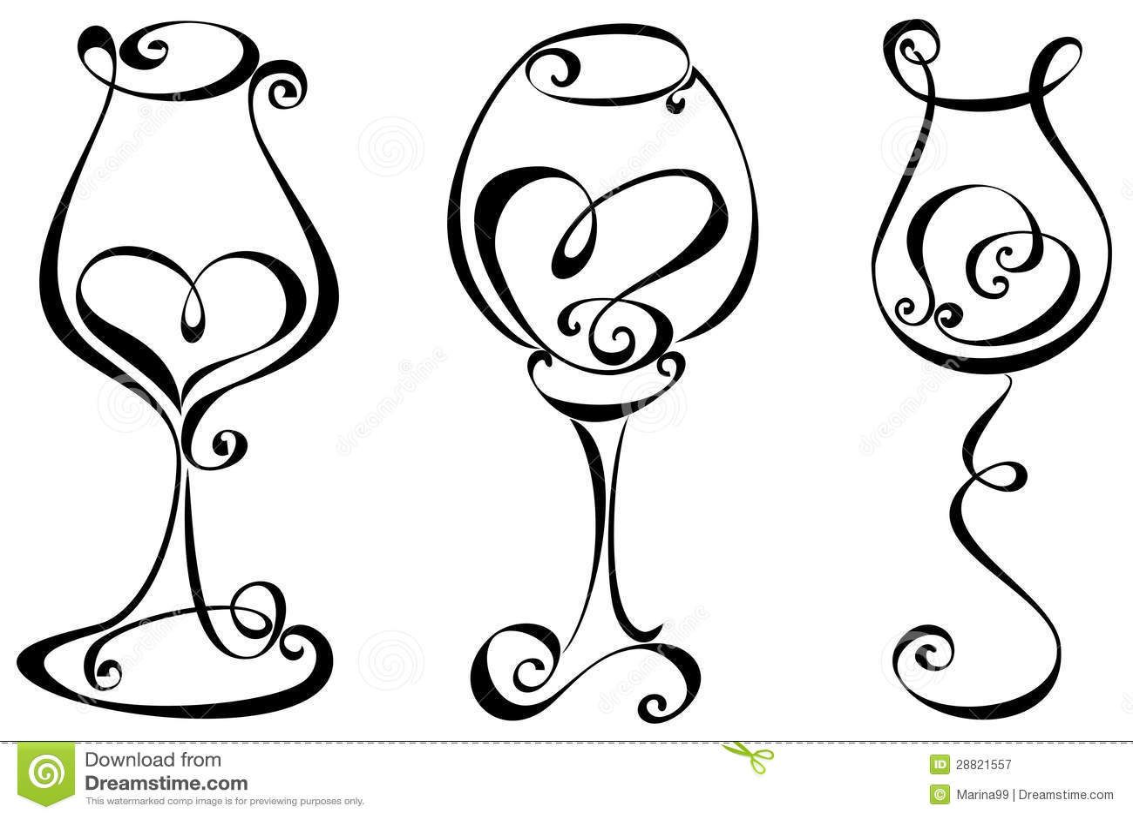 Set Stylized Wine Glass Stock Vector Illustration Of