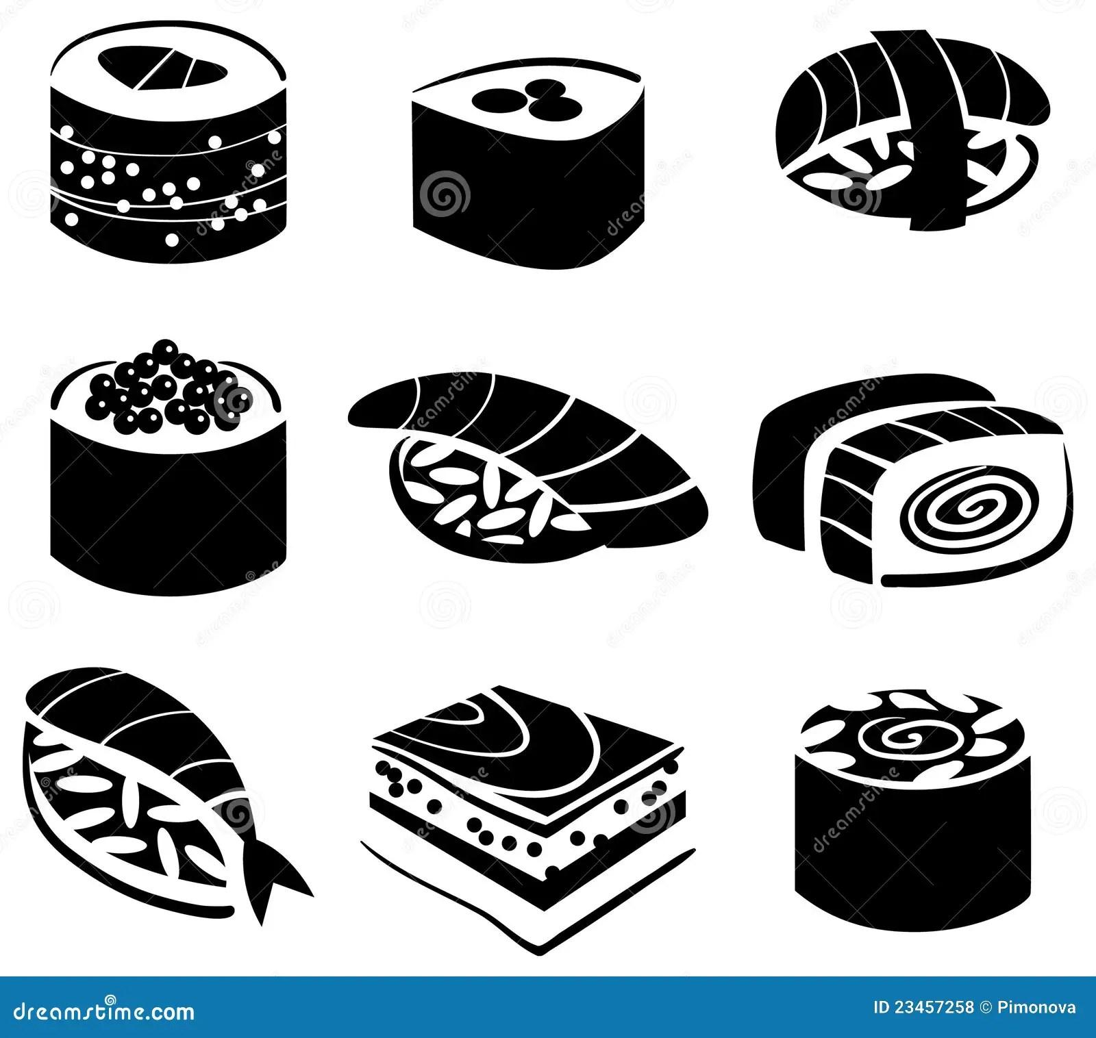 Set Of Sushi Stock Vector Illustration Of Illustration