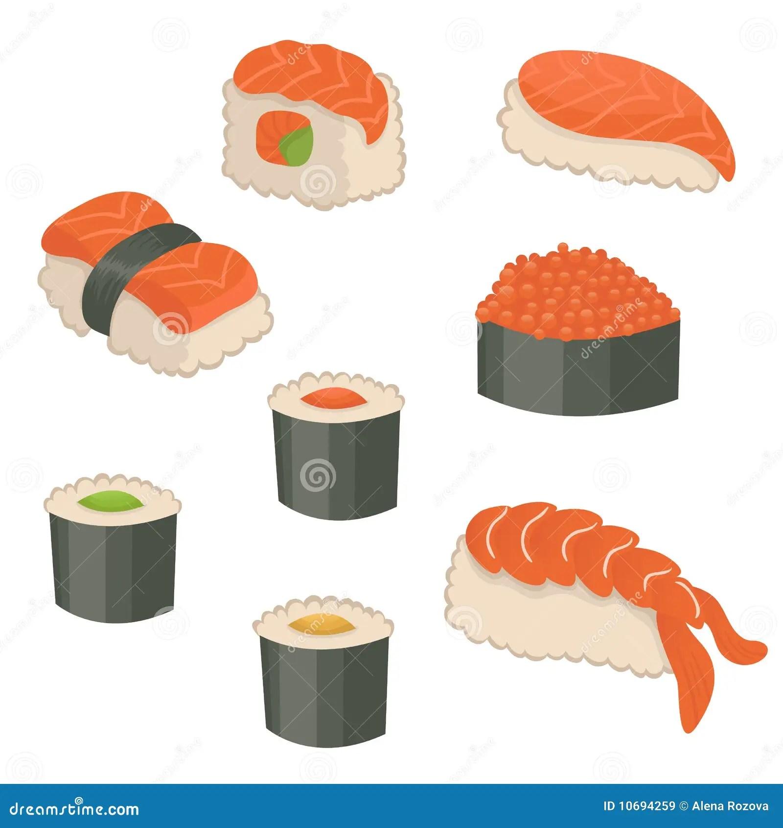 Set Of Sushi Icons Royalty Free Stock Images Image 10694259