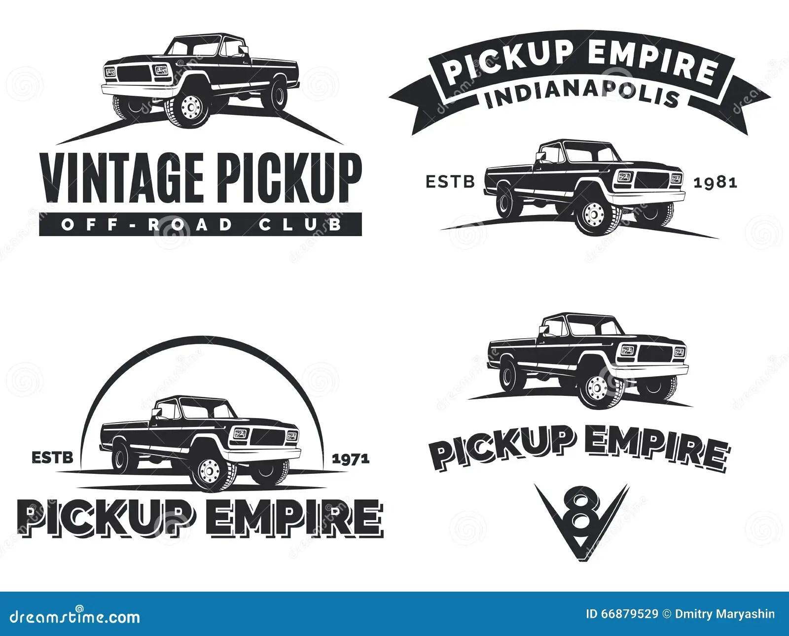 Set Of Suv Pickup Car Vector Emblems Labels And Logos