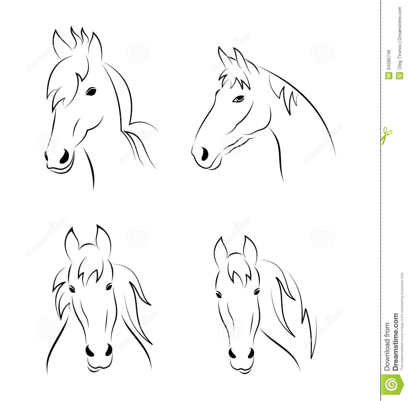 Set Symbols Outline Head Horse Isolated On White B Royalty