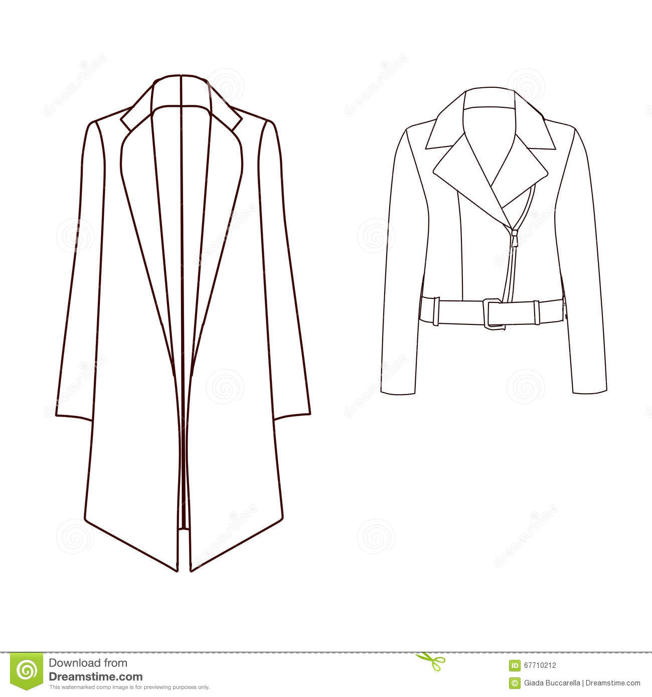Set Of Technical And Industrial Flat Fashion Template