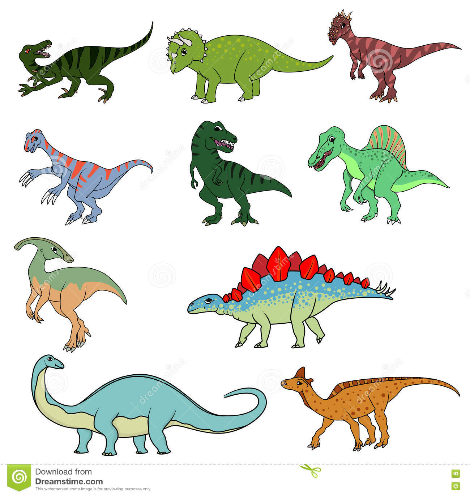 Set Of Ten Different Dinosaurs Stock Vector