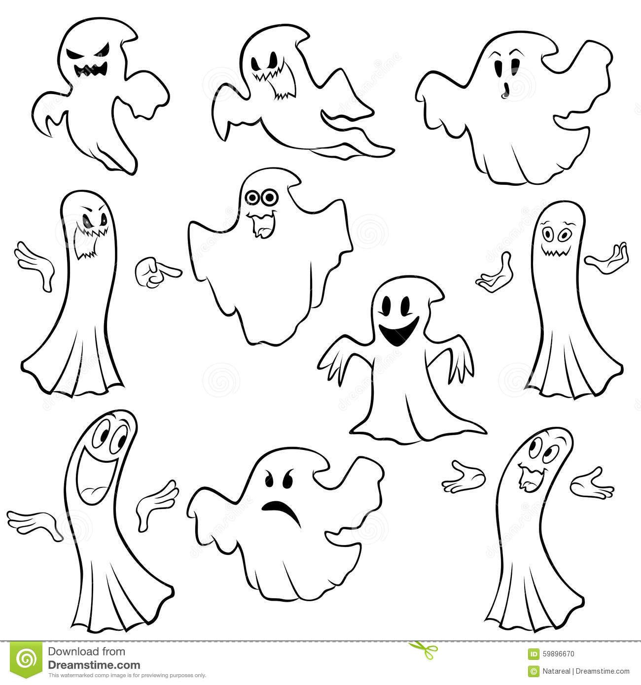 Set Of Ten Ghost Outline Stock Vector Illustration Of Character