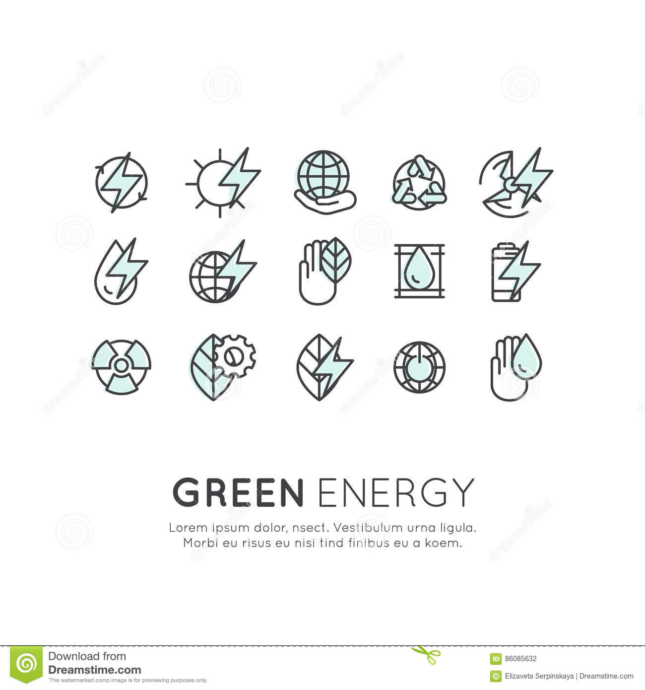 Set Of Thin Line Icons Of Environment Renewable Energy
