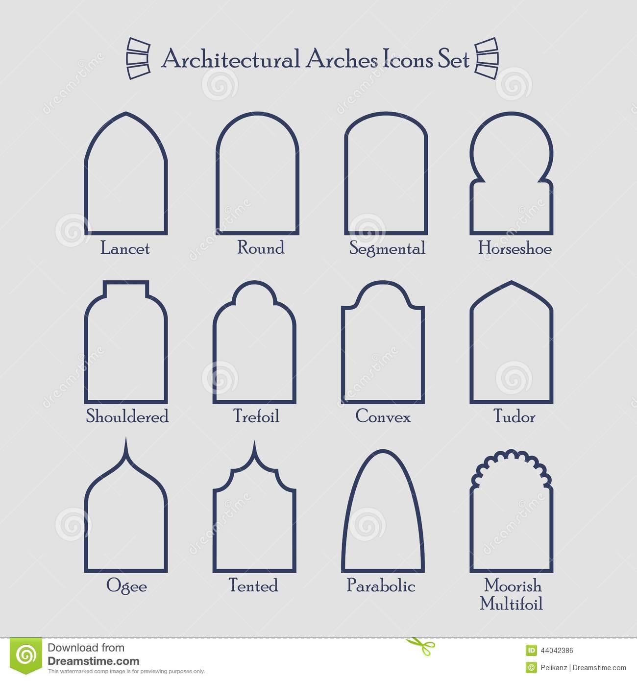 Set Of Thin Outline Common Types Of Architectural Arches