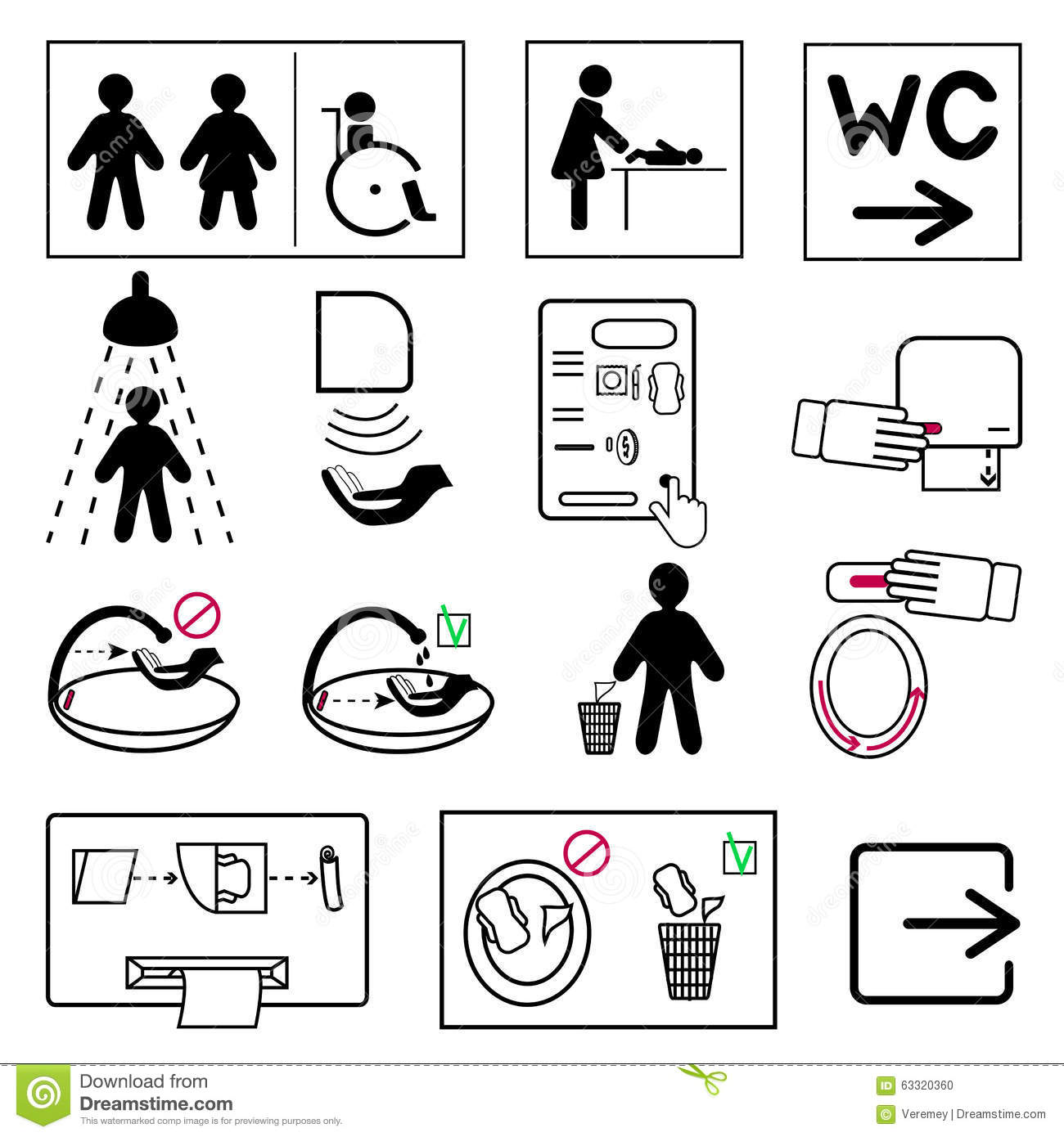 Set Of Toilet And Bathroom Signs For Public Places Stock