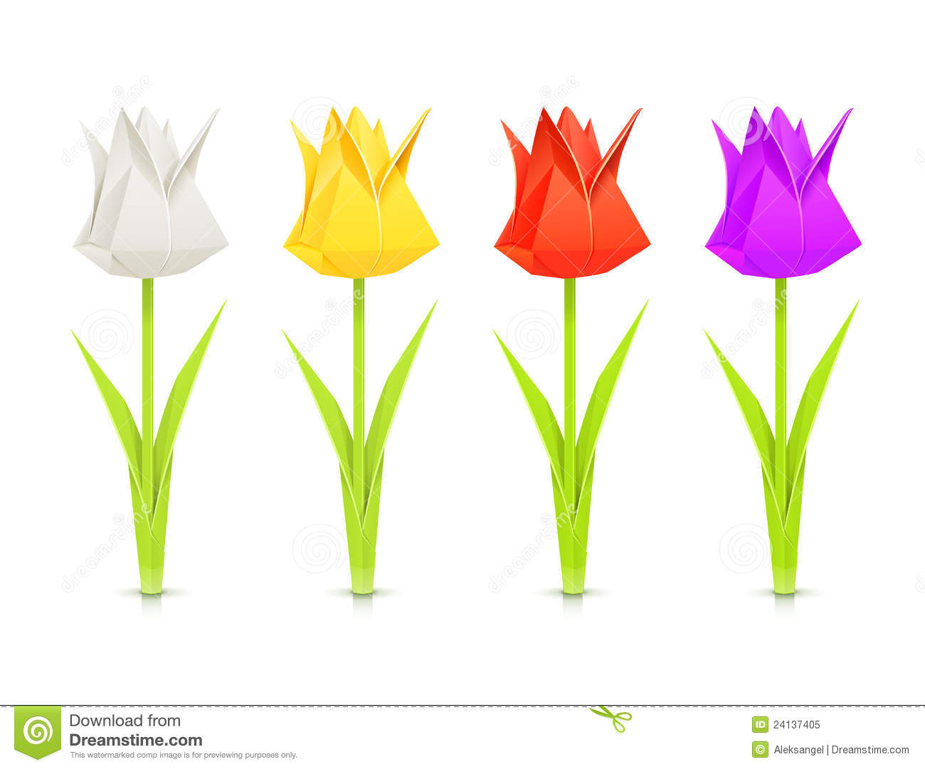 Set Of Tulips Paper Origami Flowers Royalty Free Stock Photo Image 24137405