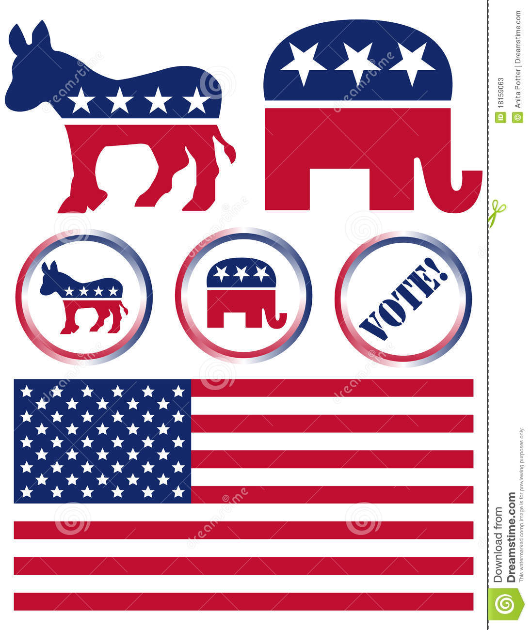 Set Of United States Political Party Symbols Editorial