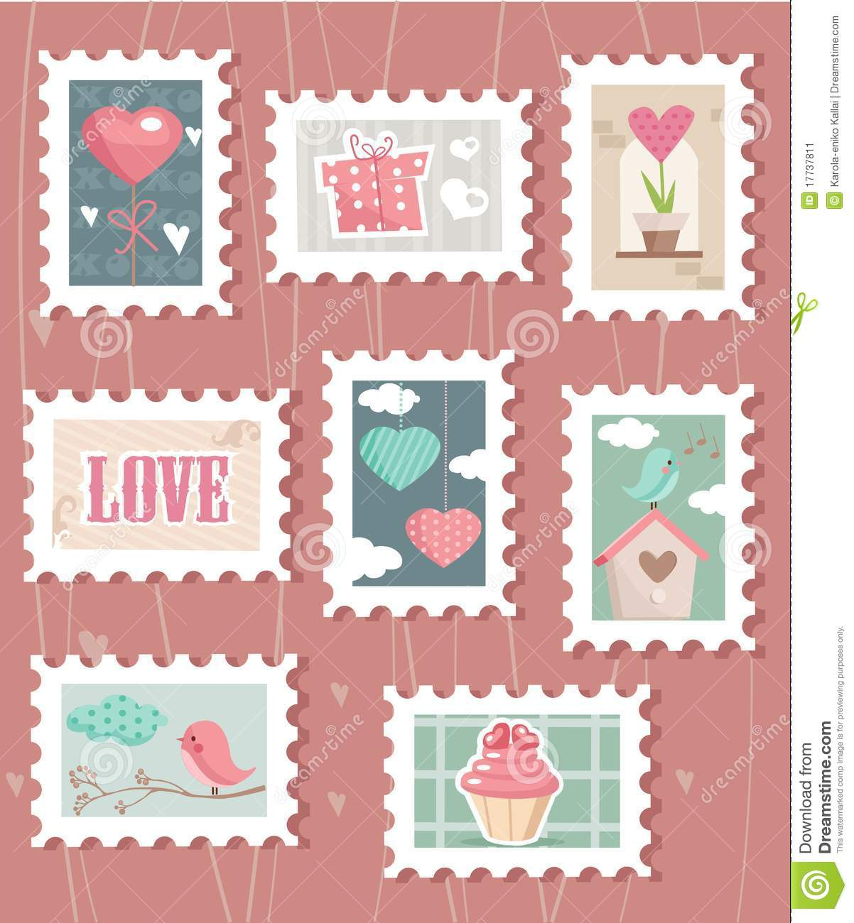 Set Of Valentines Day Postage Stamps Stock Image Image
