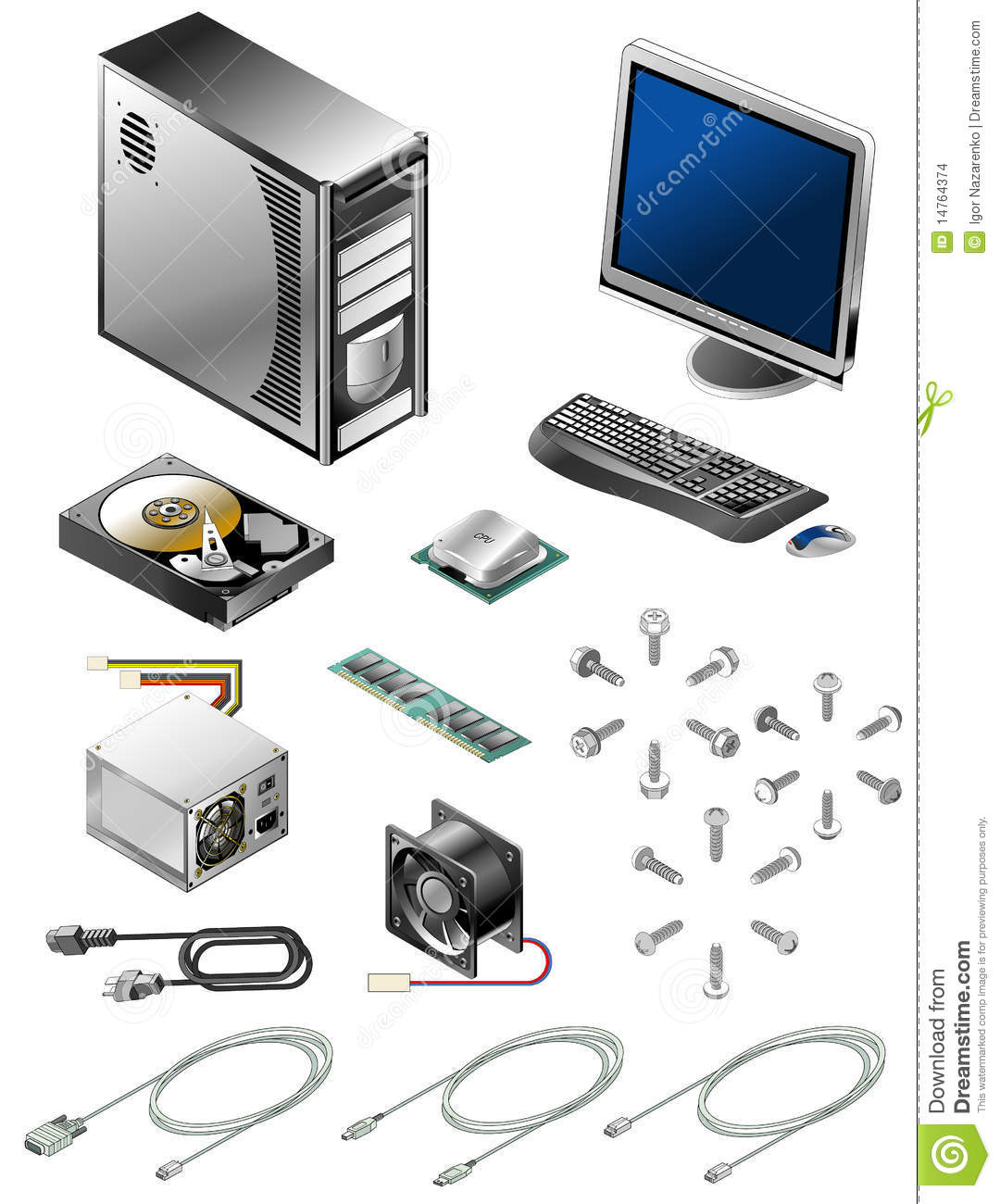 Set Of Various Computer Parts And Accessories Stock Vector
