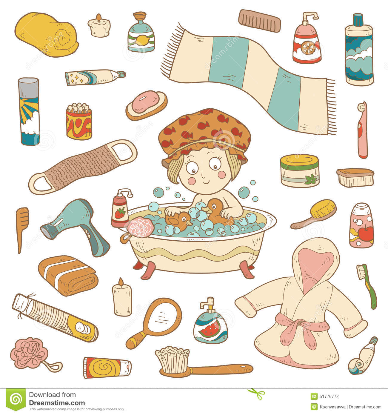 Set Of Vector Cartoon Bathroom Elements And Personal