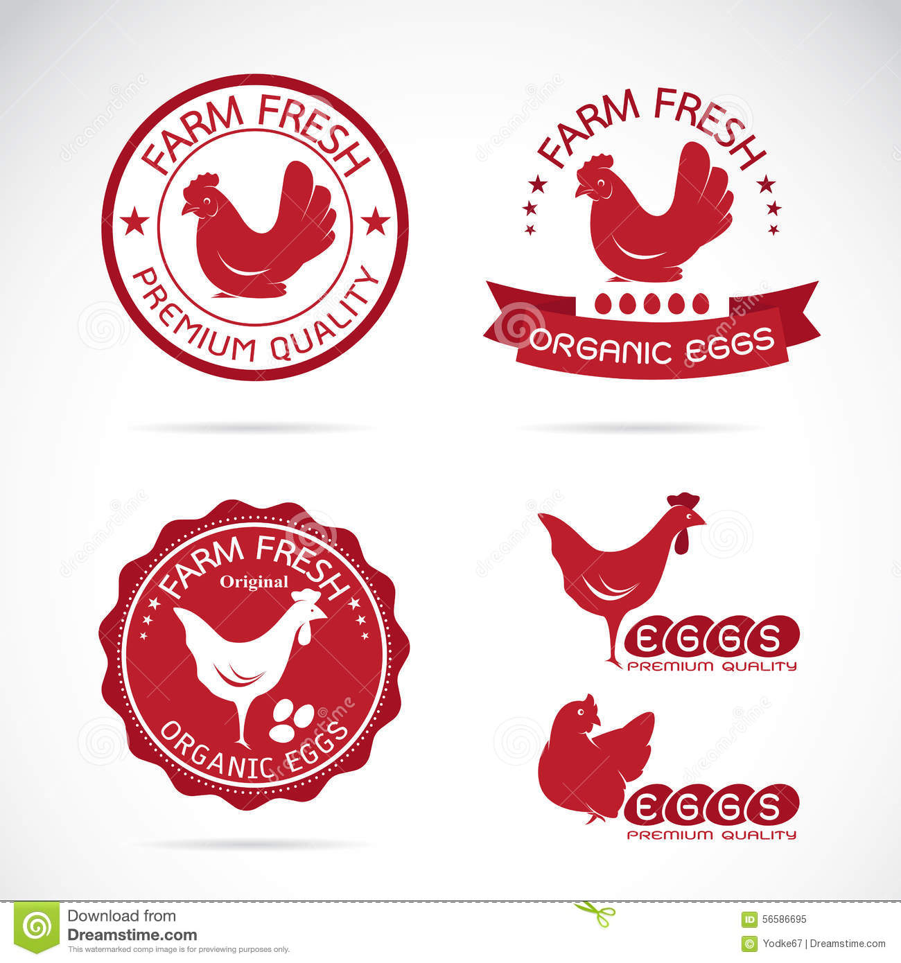 Set Of Vector An Chicken And Eggs Label Stock Vector
