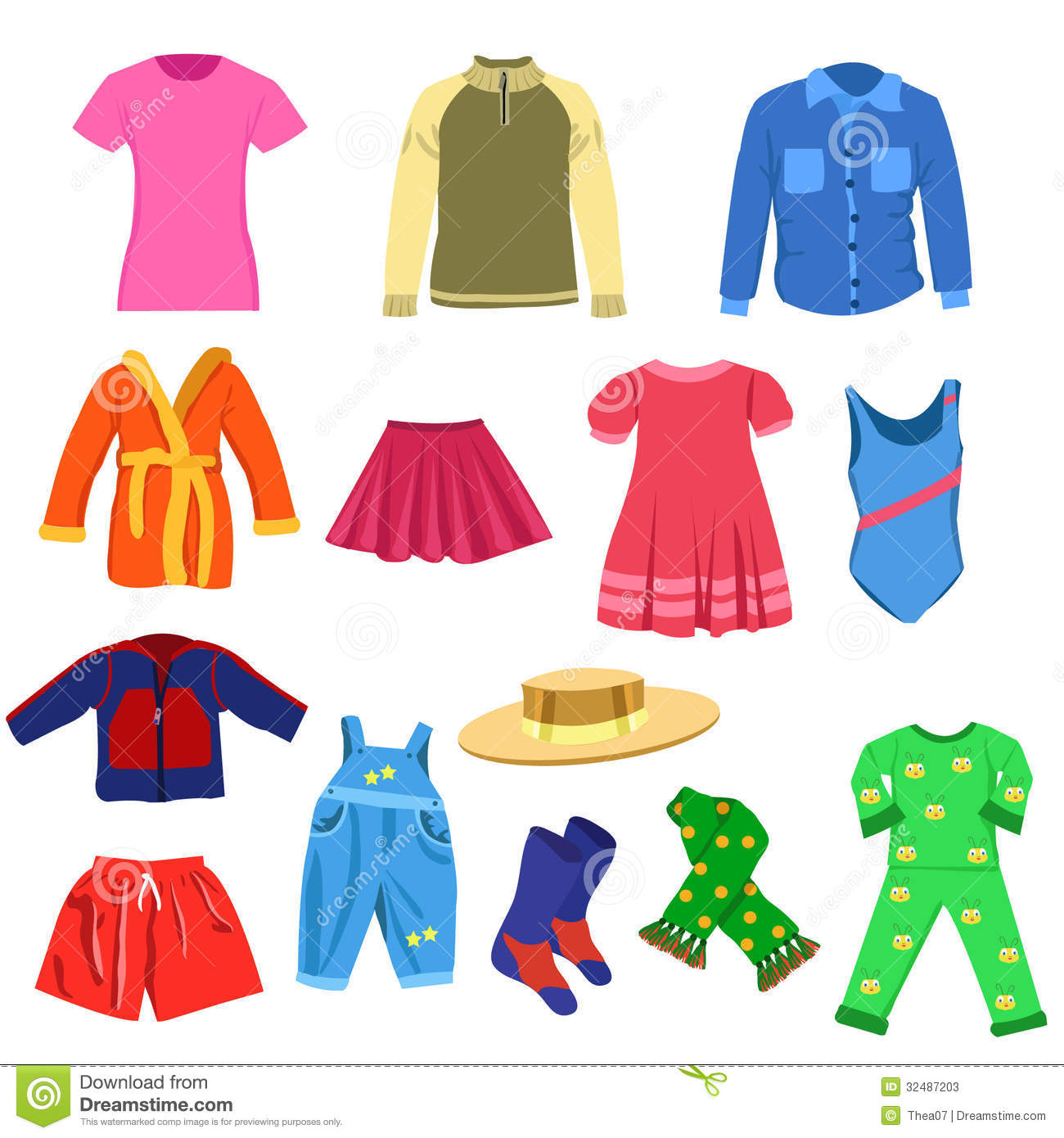 Set Of Vector Clothes Stock Vector Illustration Of Skirt