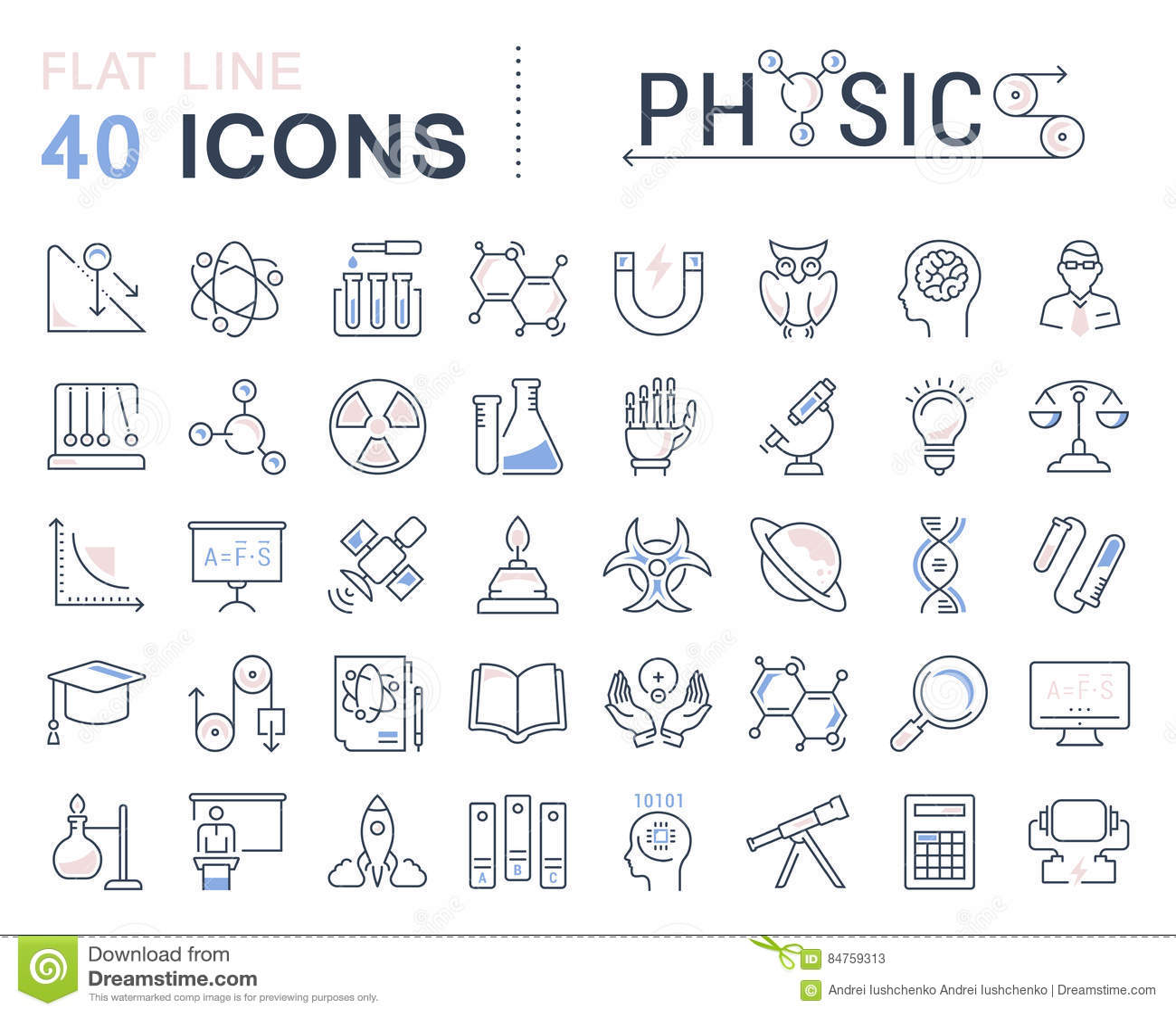 Set Vector Flat Line Icons Physic Stock Illustration