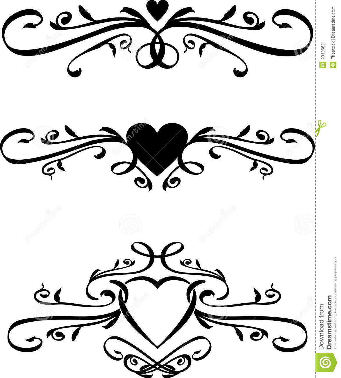 Set Of Vector Heart Scrolls Stock Vector