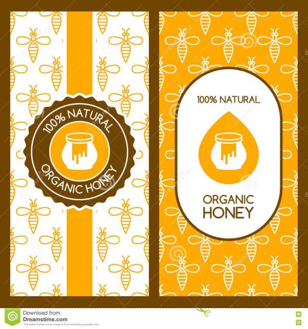 Set Of Vector Honey Backgrounds For Label Package Banner
