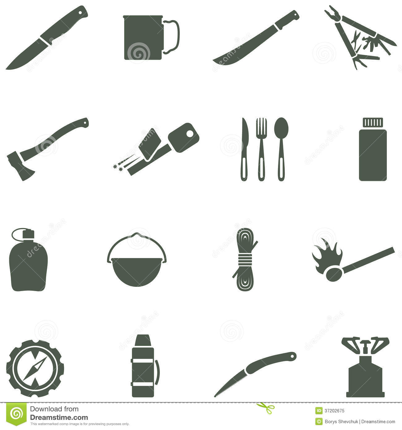 Set Of Vector Icons With Camping Equipment And Acc Stock
