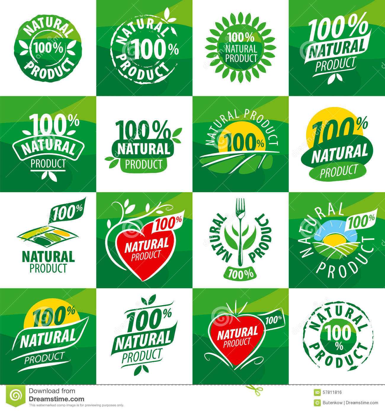 Set Vector Logos For Natural Products Stock Vector Image