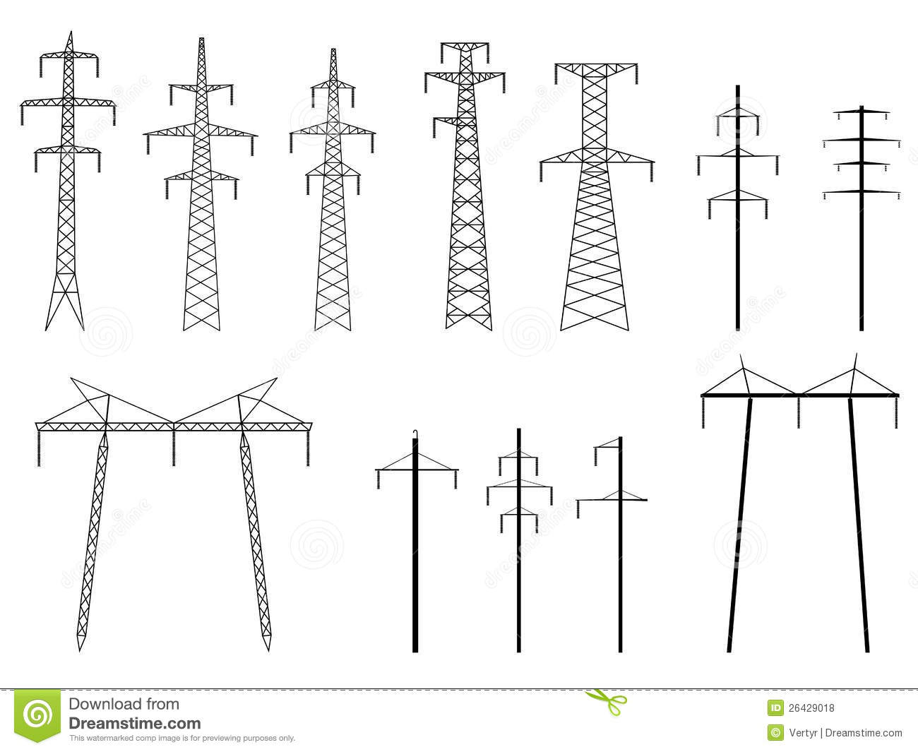 Set Of Vector Silhouettes Of Pylons Power Line Stock