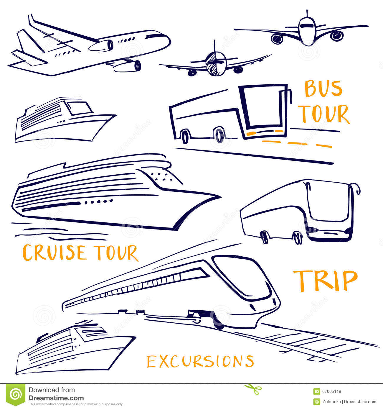 A Set Of Vehicles For Travel Air Water And Land