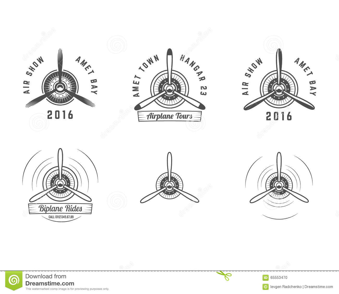 Set Of Vintage Airplane Propeller Emblems Biplane Labels