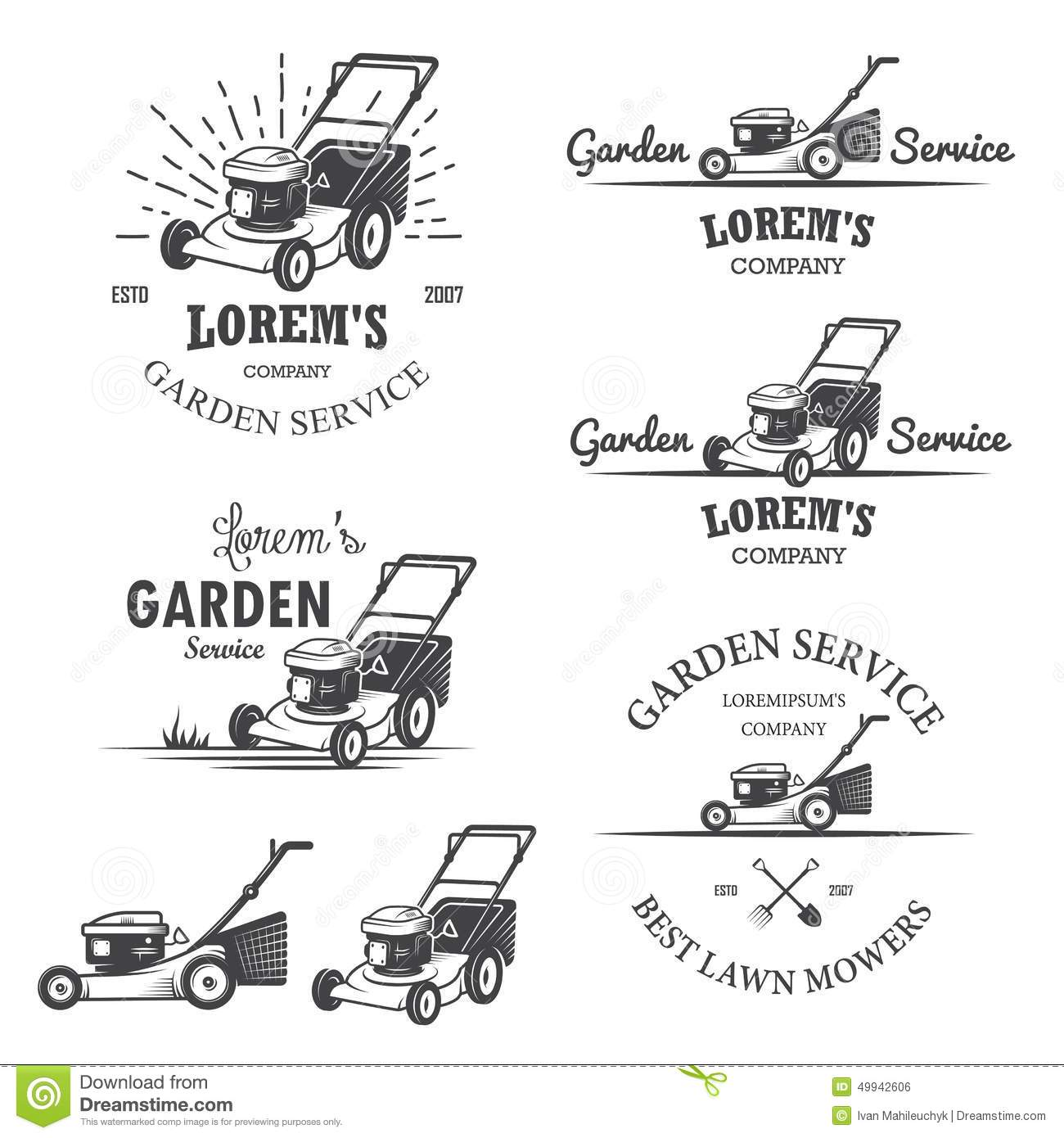 Set Of Vintage Garden Service Emblems Stock Illustration