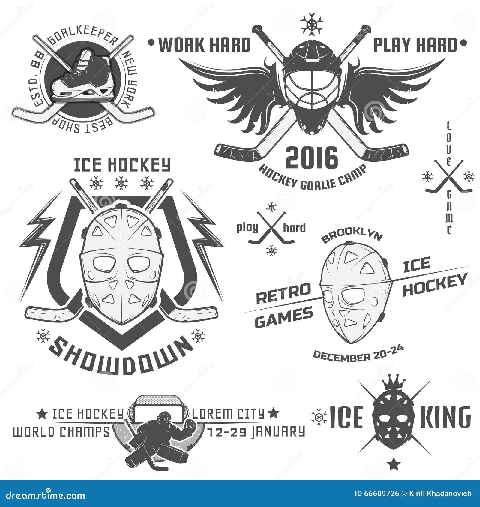 Set Of Vintage Ice Hockey Emblems Stock Vector