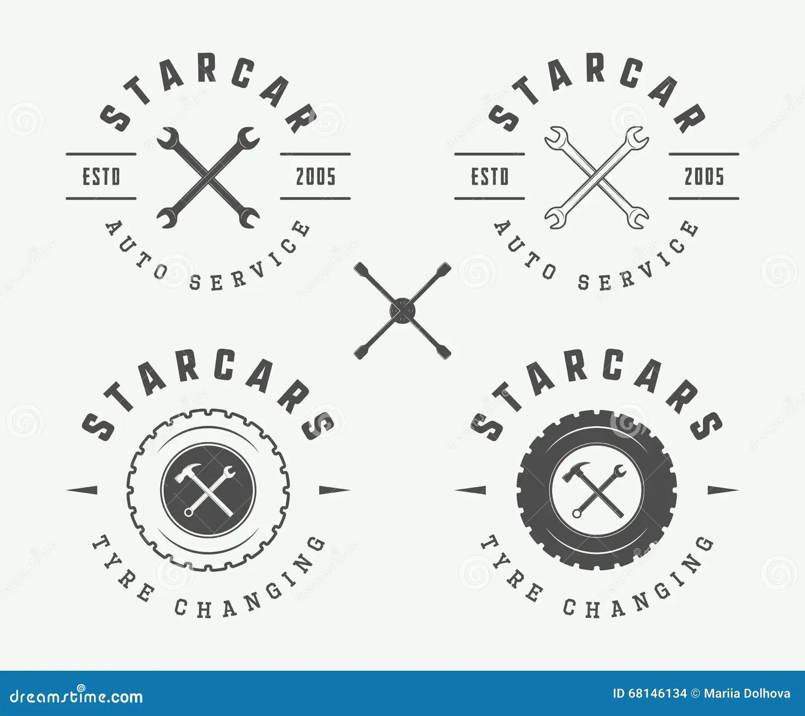 Set Of Vintage Mechanic Label Emblem And Logo Stock