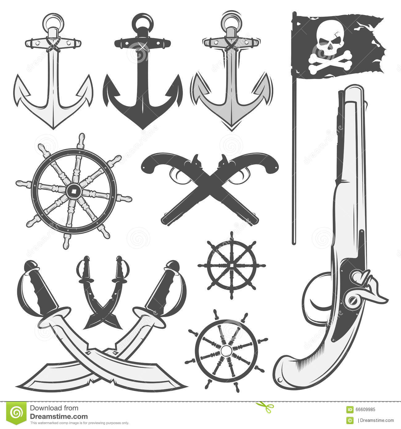 Set Of Vintage Pirate Elements Tattoo Icon T Shirt