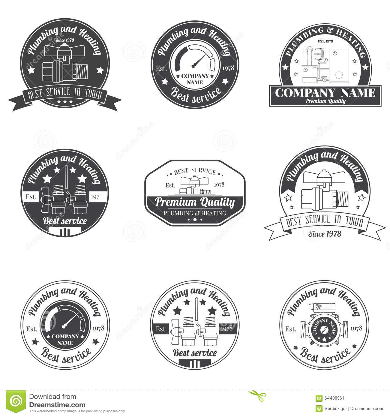 Set Vintage Plumbing Heating Services Logo Labels And