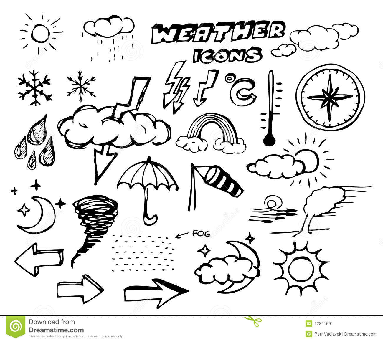 Thunderstorm Cloud Doodle Drawing Vector Illustration