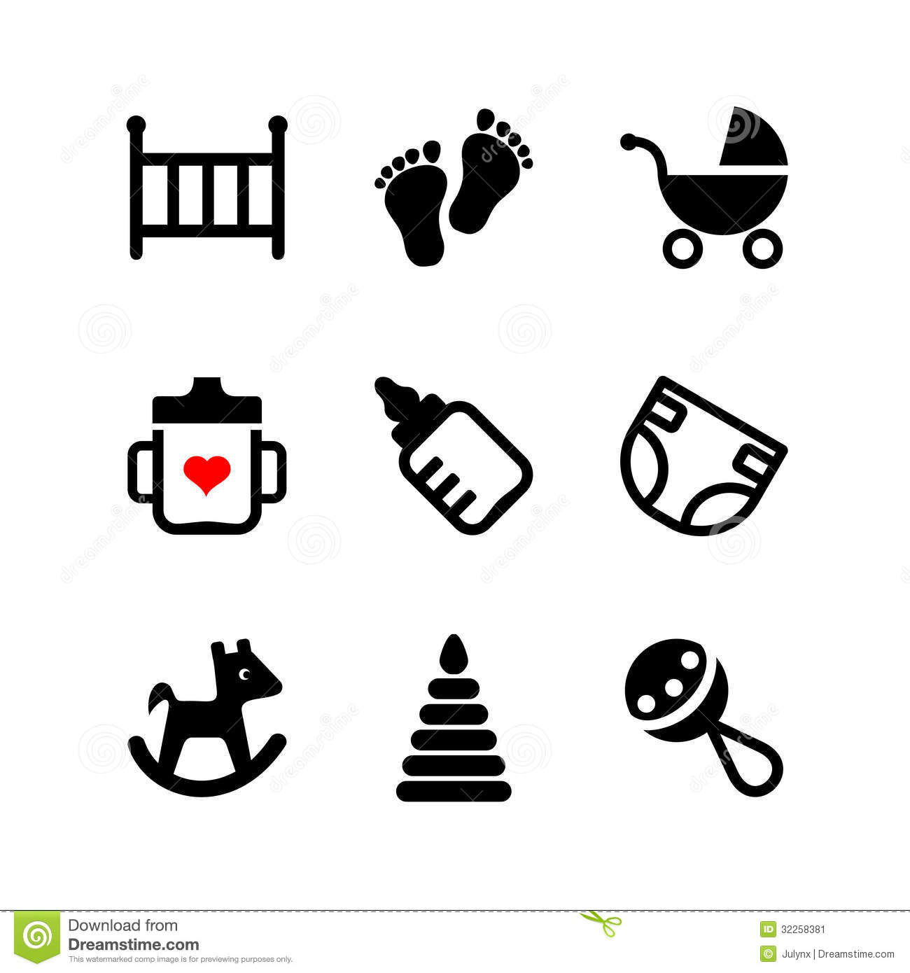 Set 9 Web Icon Baby Suckling Child Stock Vector
